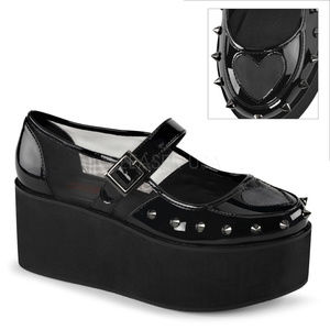 Shoes - Womens Gothic Shoes Heart Valentines Mary Janes